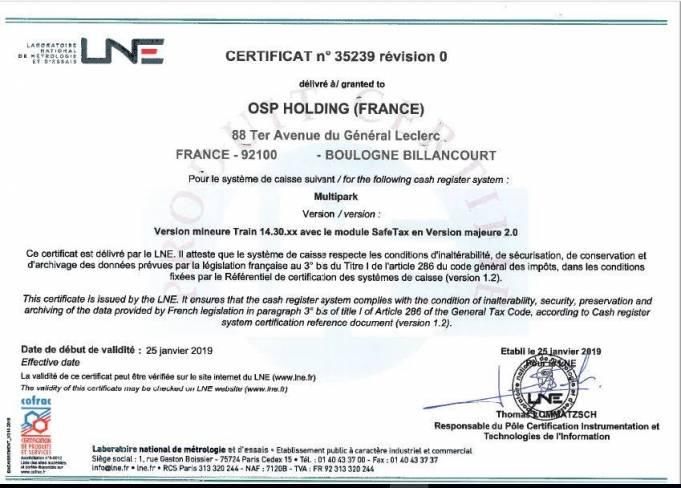 Orbility obtient la certification du LNE pour sa conformité à l'article 88 la loi de finance française 2016.